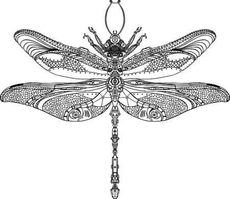 Abstract Animal: Steampunk dragonfly  Ilustracja