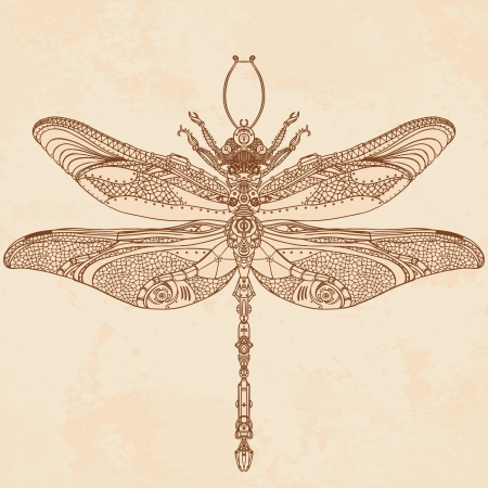 Abstract Animal: Steampunk dragonfly Vector