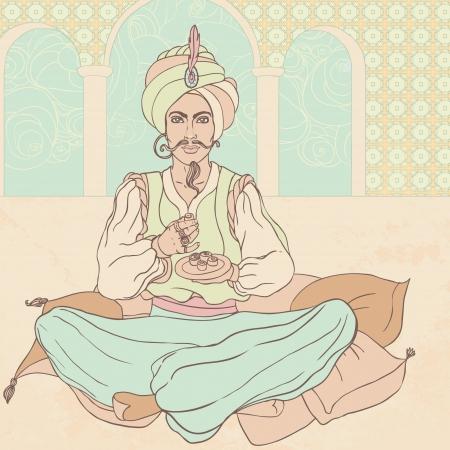 sultano: Fiaba sultano: gli uomini arabi in costume orientale godendo est dolci Vettoriali