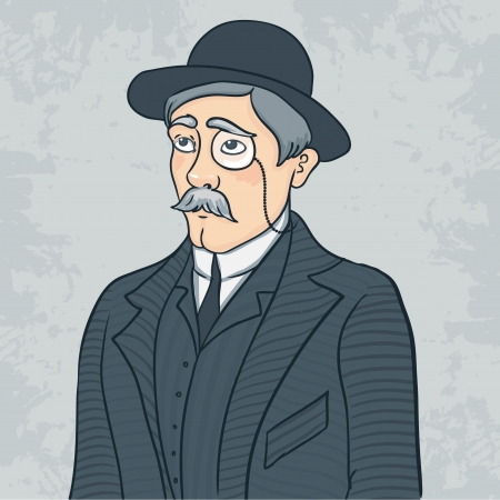 Vintage gentleman in black bowler hat, vector illustration