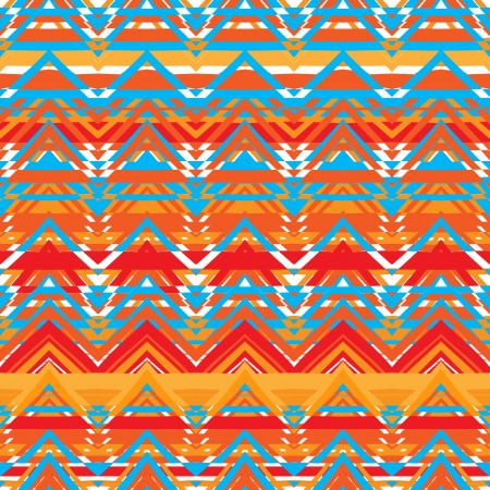 ethno: Ethnic  pattern in retro colors, aztec style seamless vector background  Illustration