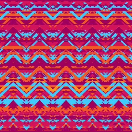 Ethnic  pattern in retro colors, aztec style seamless vector background Stock Vector - 24584858