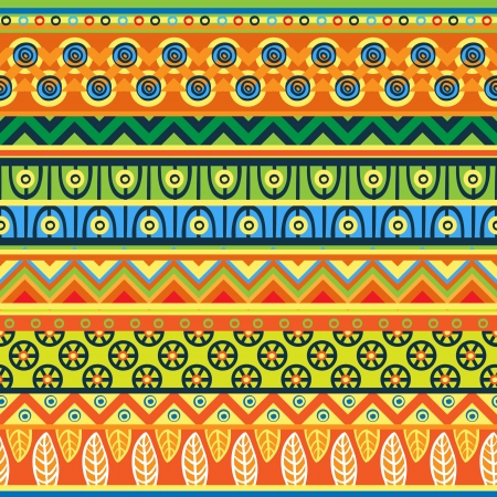 indigenous culture: Ethnic  pattern in retro colors, aztec style seamless vector background  Illustration
