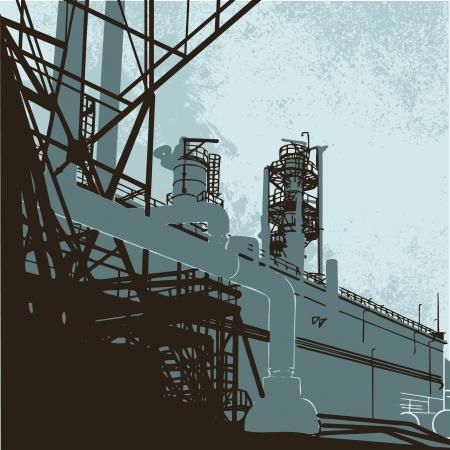 distill: Industrial Buildings. Vector illustration of plant or factory.  Illustration