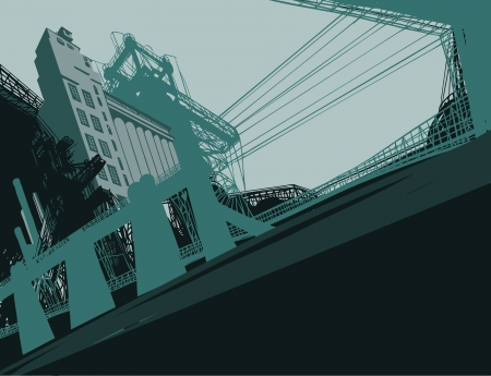 catalyst: Industrial Buildings. Vector illustration of plant or factory.  Illustration