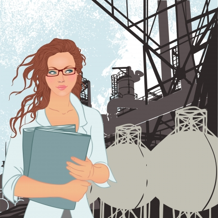 Portrait of confident young female supervisor standing standing in front of a factory and its chimneys. Vector illustration.  Vector