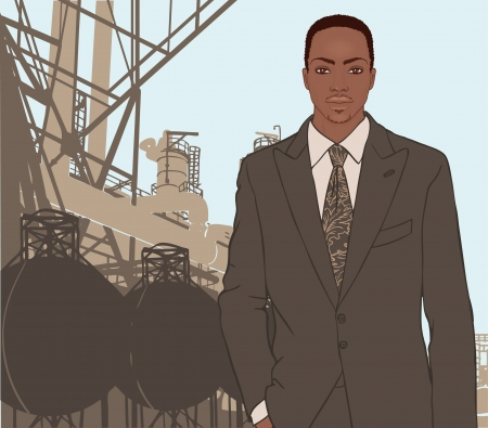 Portrait of confident african american supervisor standing standing in front of a factory and its chimneys. Vector illustration.  Vector