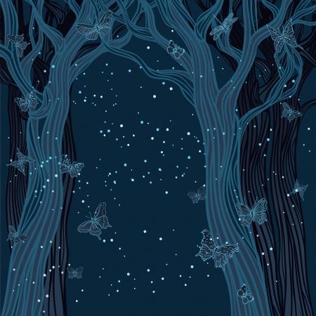 dark forest: Brown background with trees, stars and butterflies. A space for your text.