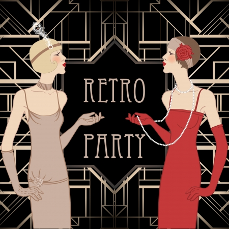 Flapper girl: Retro party invitation design. Vector illustration.