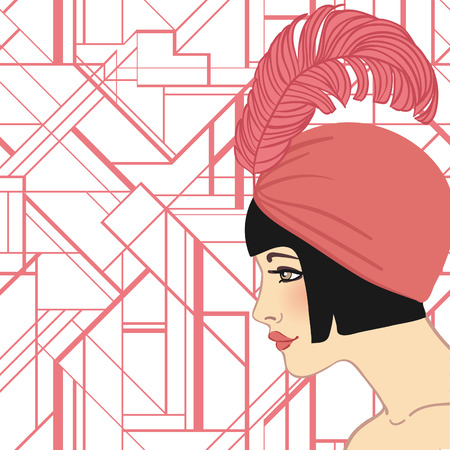 smoking woman: Flapper girl: Retro party invitation design. Vector illustration.