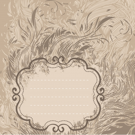 Floral vintage background brown baroque pattern frame. Vector illustration. Vector