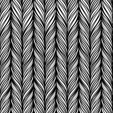 braid: Optical illusion: Black and white abstract seamless pattern. Texture of wavy vertical stripes. Stylish abstract background.