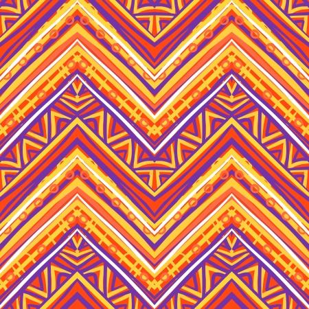 エスニック パターン レトロな色で、アステカ族スタイルのシームレスなベクトルの背景  イラスト・ベクター素材