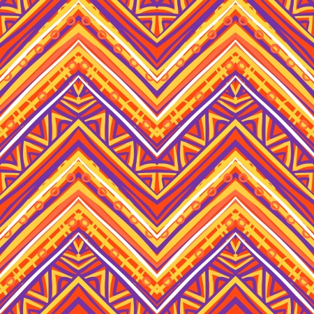 Ethnic  pattern in retro colors, aztec style seamless vector background  Ilustração