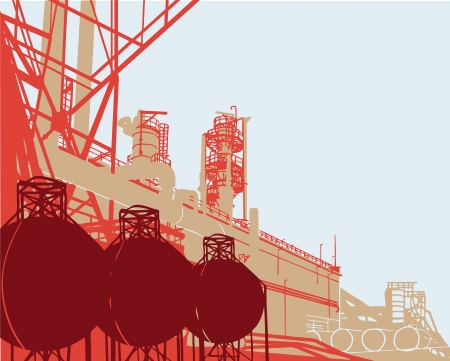 catalytic: Industrial Buildings. Vector illustration of plant or factory.  Illustration
