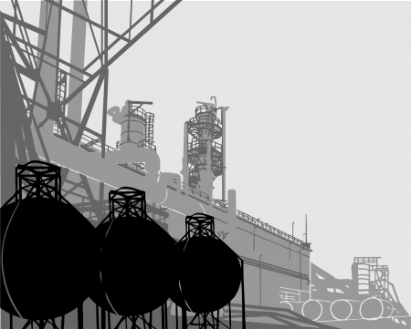chemical plant: Industrial Buildings. Vector illustration of plant or factory.  Illustration