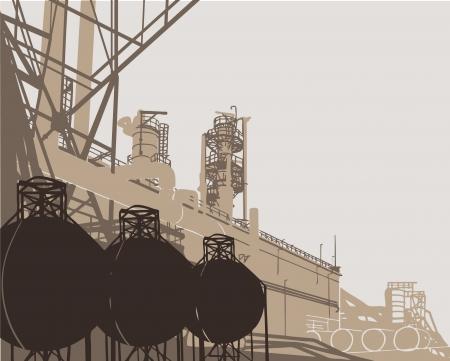 paesaggio industriale: Industriali. Illustrazione vettoriale di impianto o di fabbrica. Vettoriali