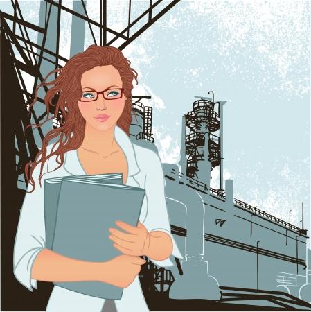 Retrato de supervisor de la hembra joven confidente que se coloca de pie delante de una fábrica y sus chimeneas. Ilustración del vector.