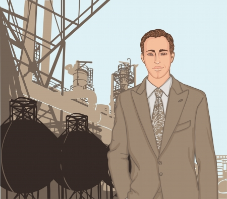 Portrait of confident young supervisor standing standing in front of a factory and its chimneys. Vector illustration.  Vector
