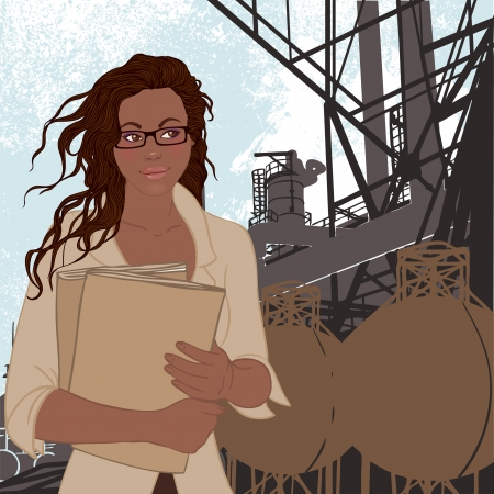 Portrait of confident young african american female supervisor standing standing in front of a factory and its chimneys. Vector illustration.  Vector