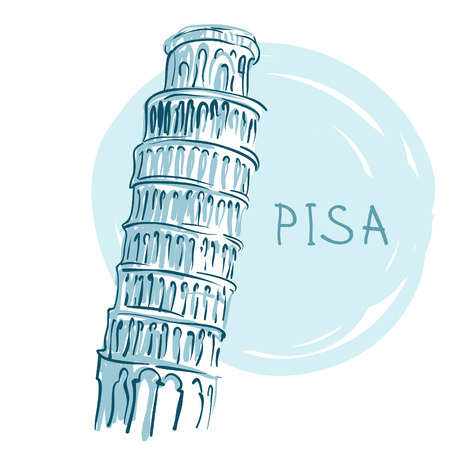 leaning tower of pisa: World famous landmark series: The Leaning Tower, Pisa, Italy, Europe Illustration