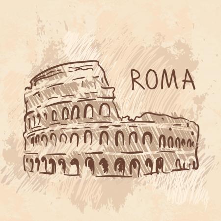 rome italie: Monde c�l�bre s�rie de point de rep�re: Colosseum, Rome, Italie Illustration