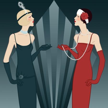 fashion art: Flapper girls series: Retro party invitation design (black)