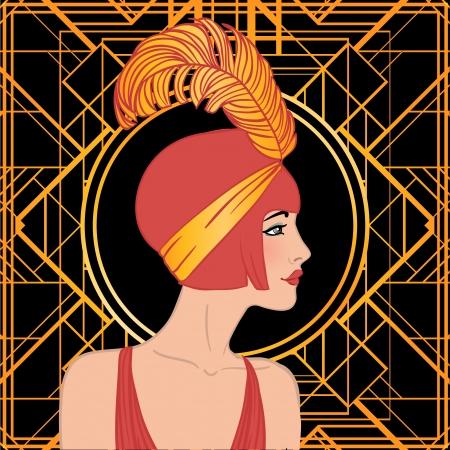 women smoking: Chica de la aleta: Dise�o retro de la invitaci�n del partido. Ilustraci�n del vector.