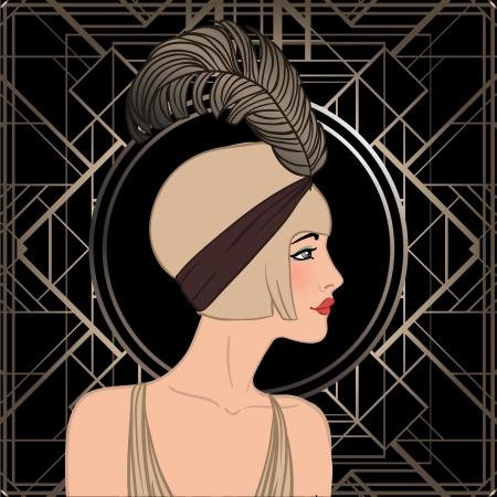 flapper: Flapper girl: Retro party invitation design. Vector illustration.