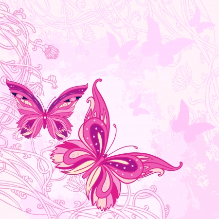 Beautiful butterflies design on beige background. Hand drawn vector illustration.  Vector