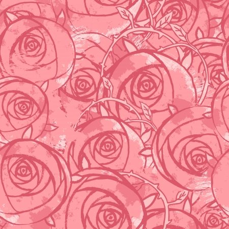 Vector pink wedding floral grunge seamless pattern. Hand drawn  illustration.  Vector