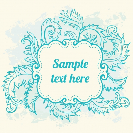 Vintage turquoise frame. Vector illustration Vector