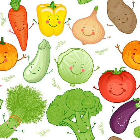 Cartoon funny vegetables seamless pattern, vector illustration Vector