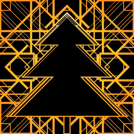 Christmas greeting card background. Black and gold.  Vector