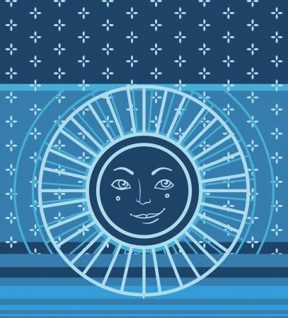hape: Vector seamless geometric pattern with sun symbol Illustration