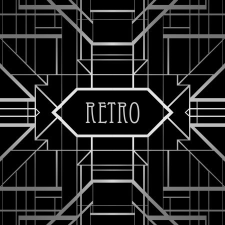 art deco background: Vintage background. Retro style frame.  Illustration