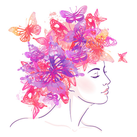 Beautiful white girl with watercolor butterflies on her head. Vector illustration.
