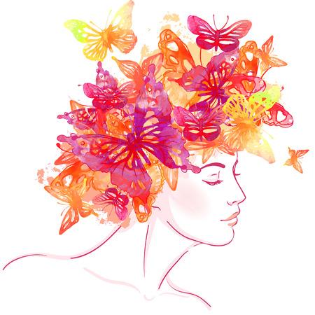 彼女の頭の上の水彩画の蝶と美しい白人の女の子。ベクトル イラスト。