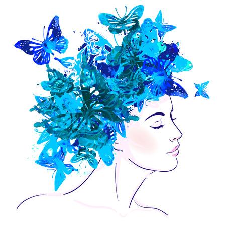 그녀의 머리에 수채화 나비와 함께 아름 다운 백인 여자. 벡터 일러스트 레이 션. 일러스트