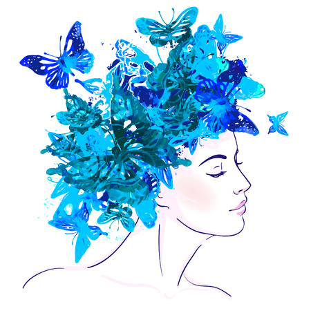woman profile face: Beautiful white girl with watercolor butterflies on her head. Vector illustration.