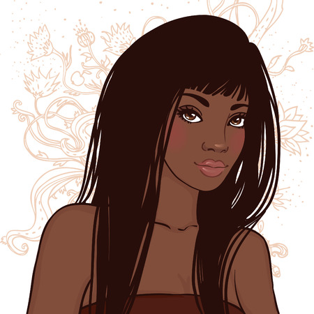 Pretty young african american woman with beautiful long hair. Vector illustration