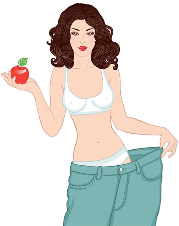 Young Woman in her old jeans after losing weight holding red apple isolated on white