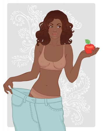her: African american woman in her old jeans after losing weight holding red apple