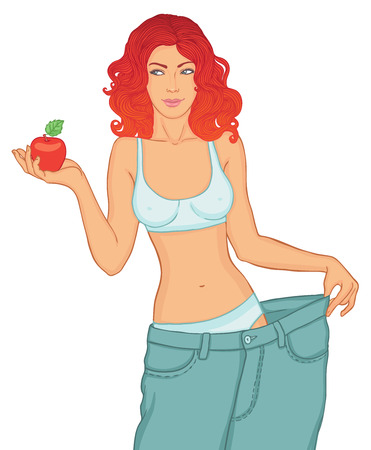 Young Woman in her old jeans after losing weight holding red apple isolated on white Vector