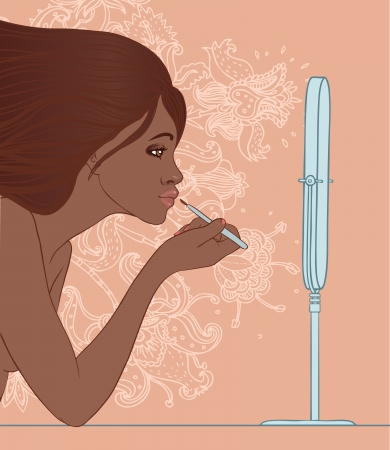 Beautiful african american girl applying lip gloss with brush in front of the mirror. Vector illustration on floral patterned background. Vector