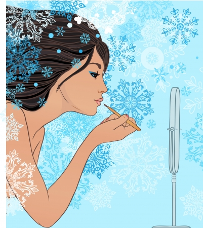 gloss: Winter makeup: beautiful girl applying lip gloss with brush in front of the mirror. Vector illustration