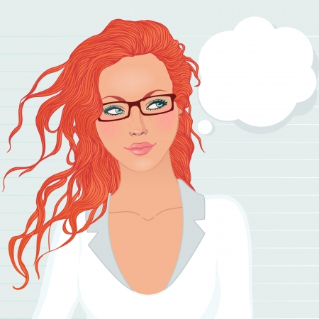 newscaster: Pretty student girl with long red hair ponders, looks up at the speech bubble, vector illustration. Illustration