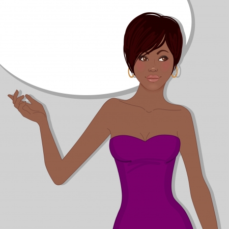 nude girl pretty young: Young pretty African American business lady, vector illustration