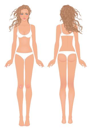 젊은 유럽 여성의 신체 템플릿 : 앞면과 뒷면.
