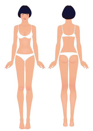 Young asian womans body template: front and back.